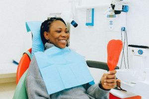 Woman at dentist in Freedom for a dental checkup.