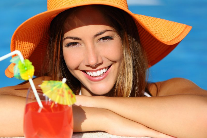 woman smiling during summer vacation